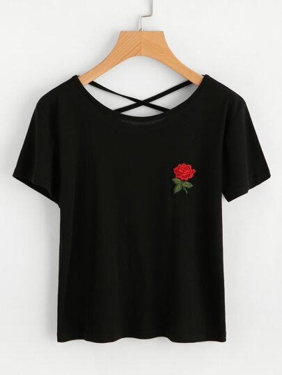 Rose Embroidered Patch Criss Cross Back Tee