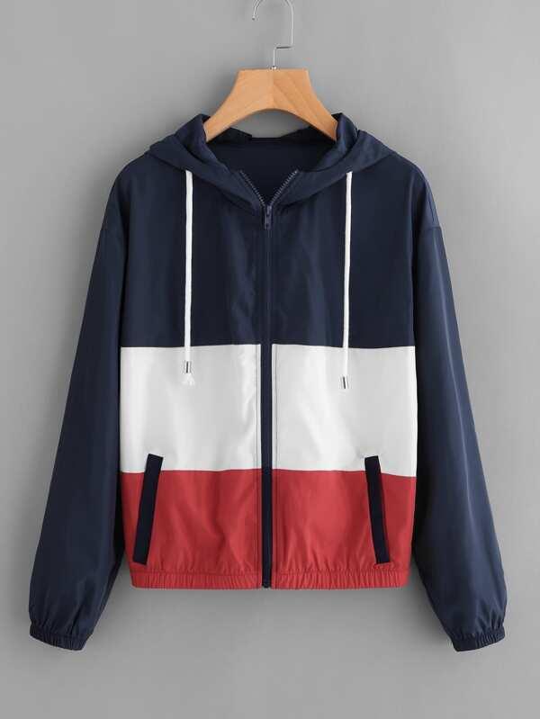 65fff58ec Cut And Sew Hooded Windbreaker Jacket
