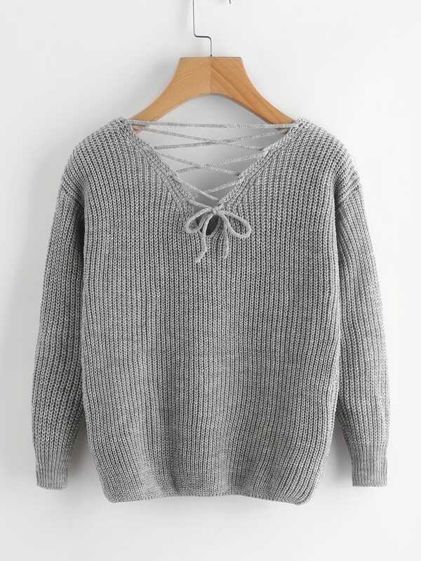 5fca38f7c4 Double V Lace Up Back Chunky Knit Sweater | SHEIN