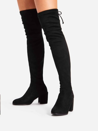 7dbb758eb499 Tie Back Over Knee Block Heeled Boots