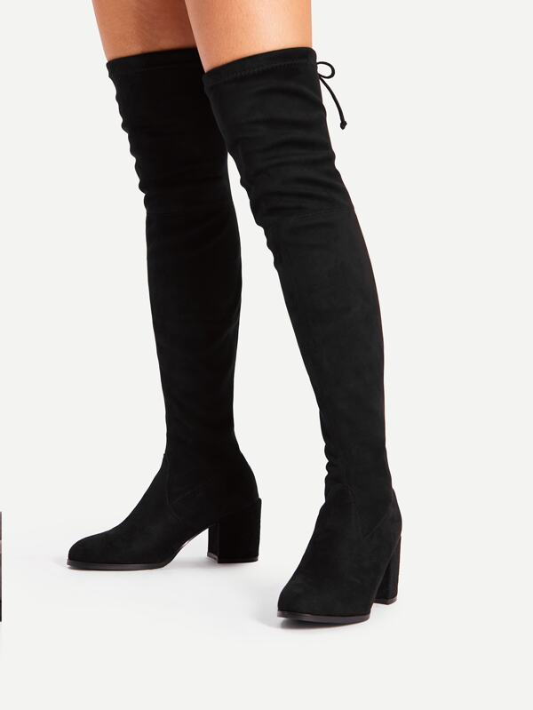 66559628ee60 Cheap Tie Back Over Knee Block Heeled Boots for sale Australia