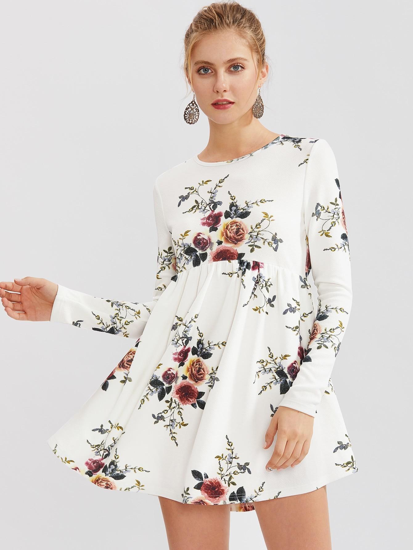 Flower Print Smock Dress Shein Sheinside