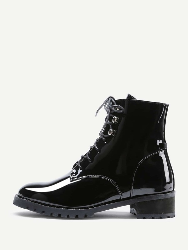 d88167d249 Lace Up Patent Leather Ankle Boots   SHEIN