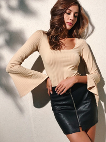 Split Flare Sleeve U Shaped Neckline Top