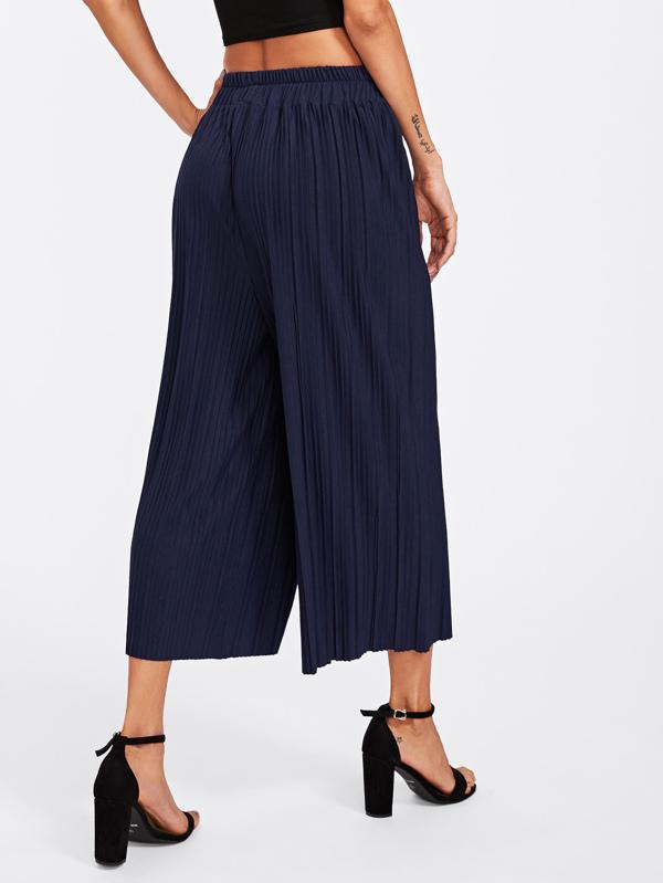 b14a8cb81e Elastic Waist Pleated Wide Leg Pants   SHEIN
