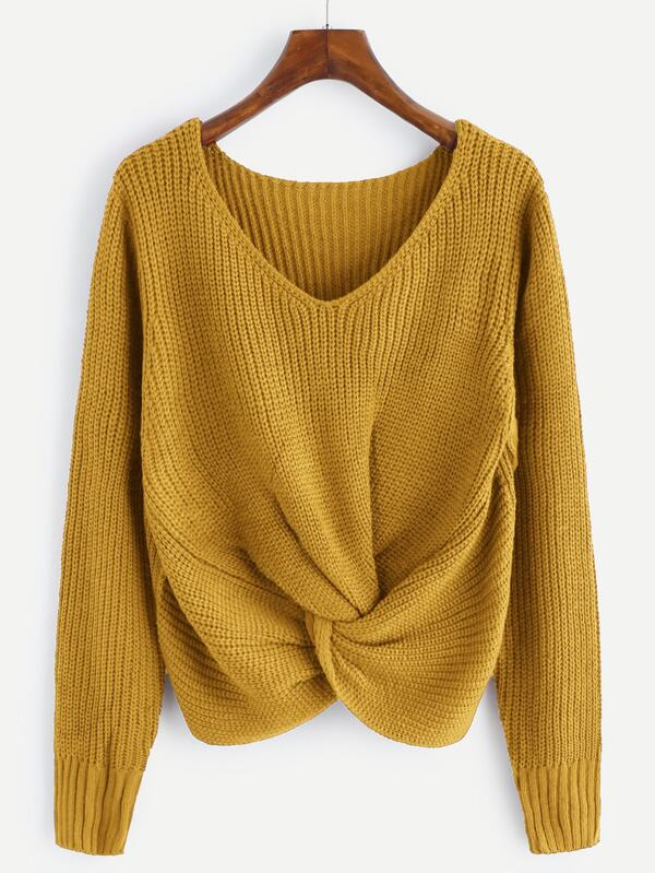 d2871c81f V-neckline Twist Front Chunky Knit Sweater