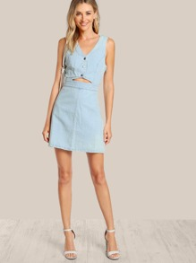 e411175bc75 Front Cutout Button Up Denim Dress BLUE