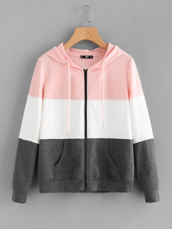 3e9d1d3a00 Cut And Sew Hoodie Jacket   SHEIN