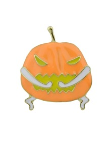 Halloween Funny Orange Pumpkin Brooch