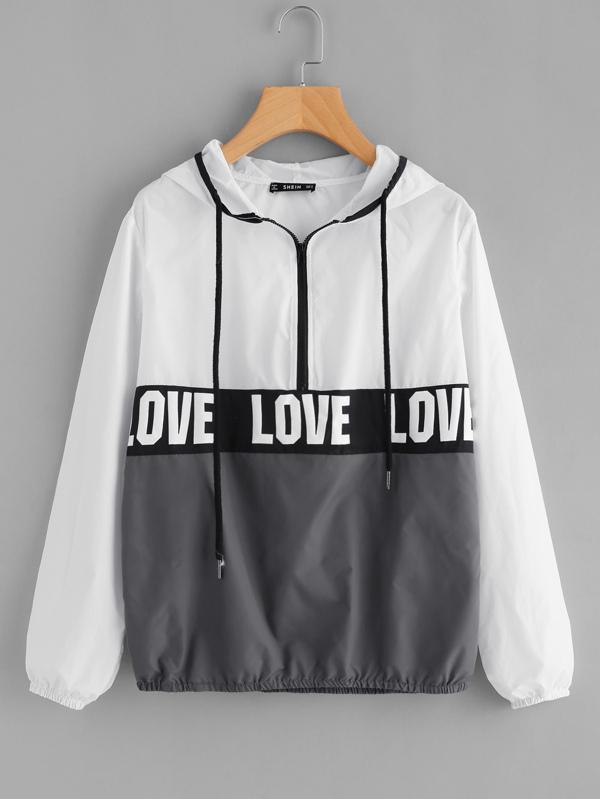 9ef9b49fc1 Zip Front LOVE Print Windbreaker Hoodie Jacket   SHEIN