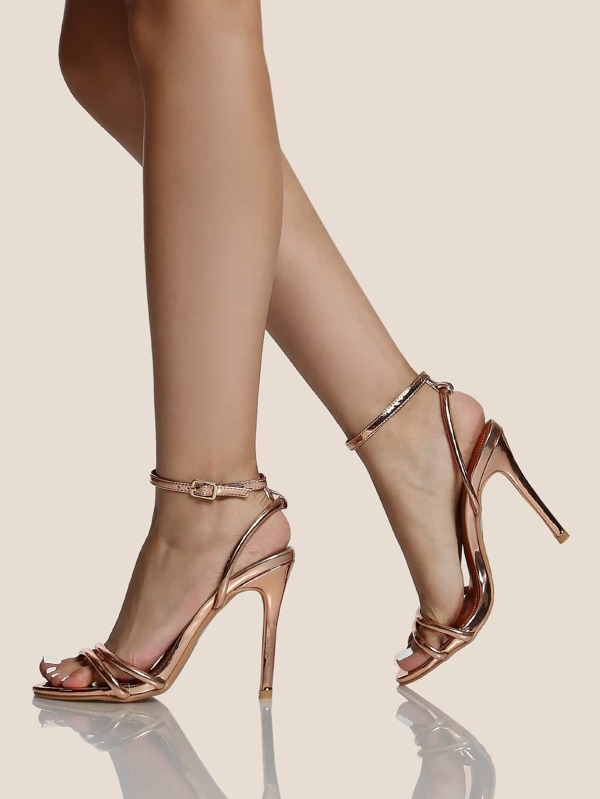 55a71c9d94 Strappy Ankle Strap Metallic Heels ROSE GOLD | SHEIN