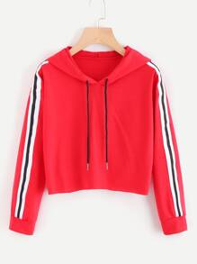 Contrast Striped Drawstring Hoodie