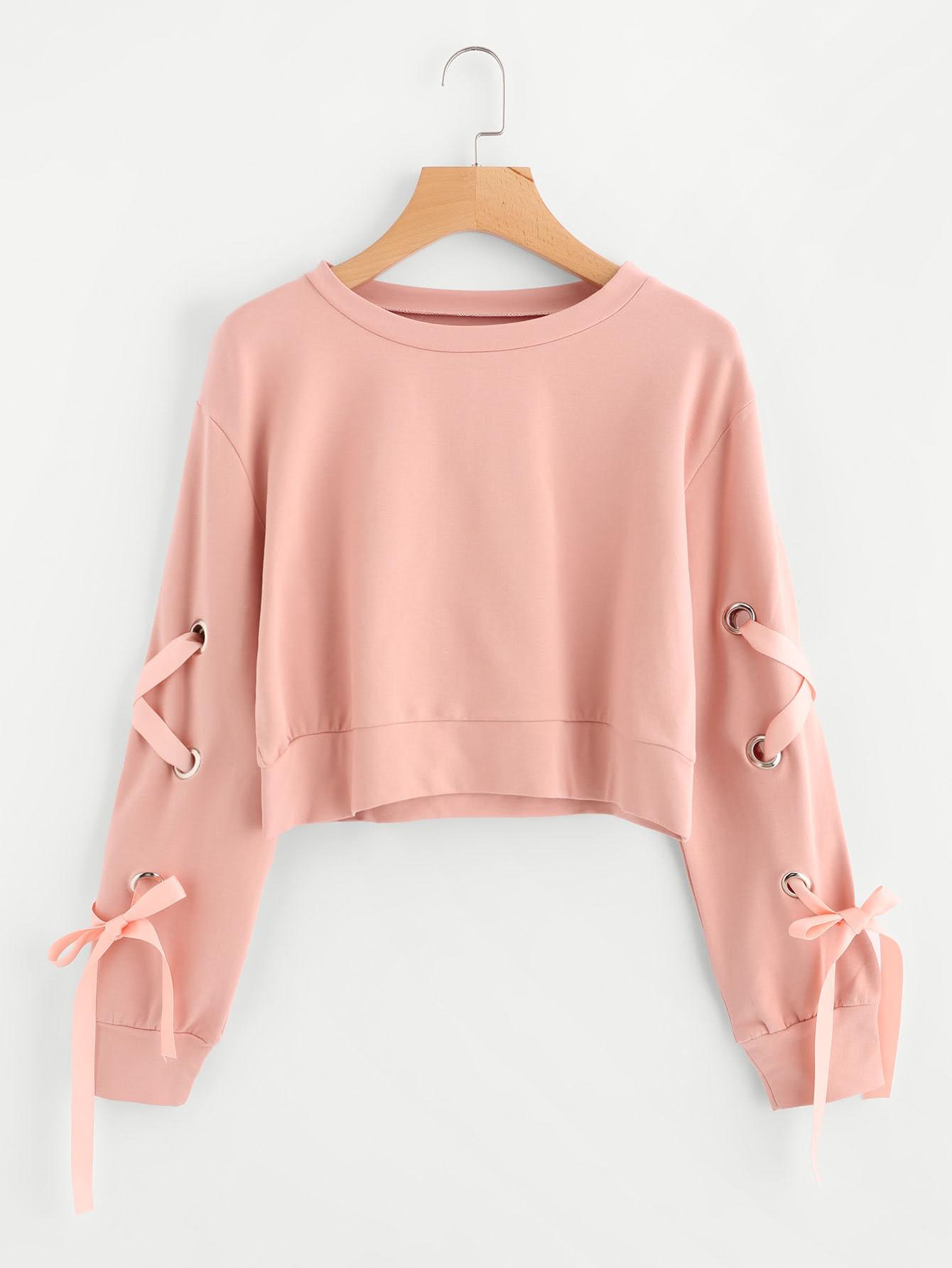 Eyelet Lace Up Sleeve Crop Sweatshirt EmmaCloth-Women Fast ...