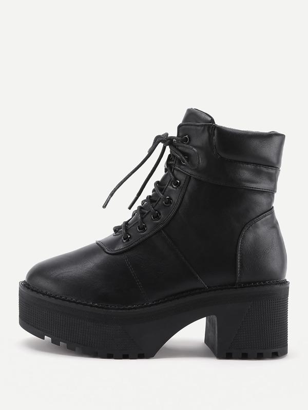 a33d758e70 Cheap Platform Lace Up Faux Leather Boots for sale Australia | SHEIN