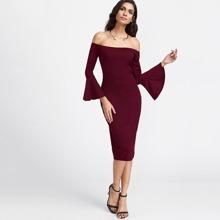 Bardot Fluted Sleeve Slit Back Dress dress170904102