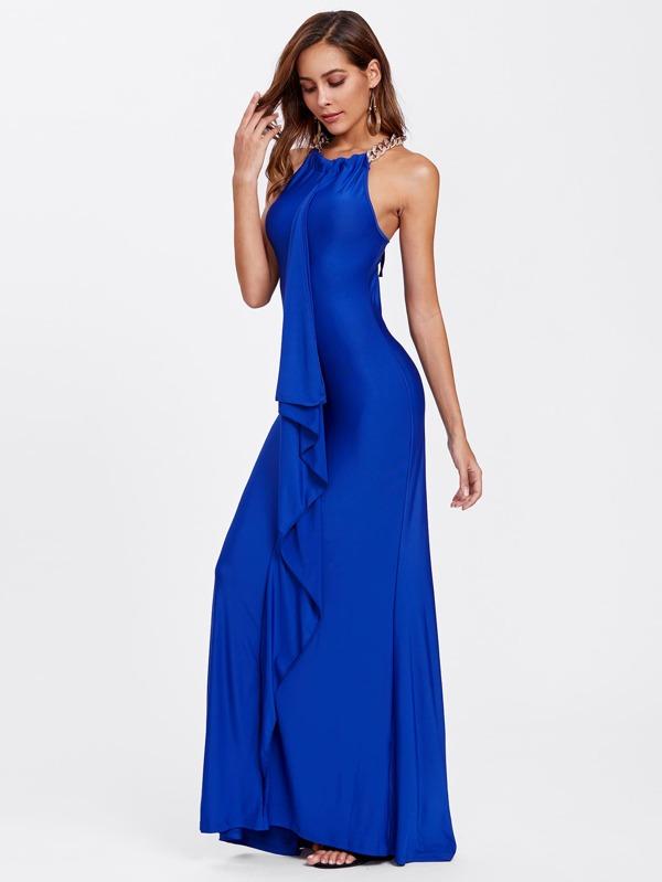 Flounce Trim Chain Halter Dress -SheIn(Sheinside)