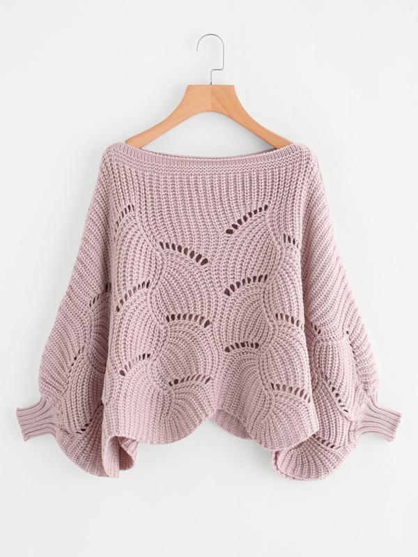 Loose Knit Scalloped Dolman Sweater Sheinsheinside