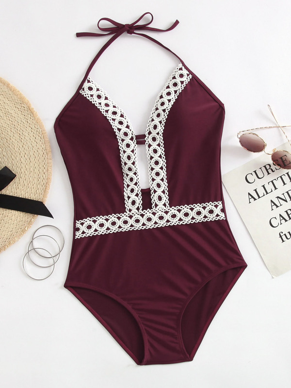 f5421a7c8c Crochet Lace Trim Plunging One Piece Swimsuit | SHEIN