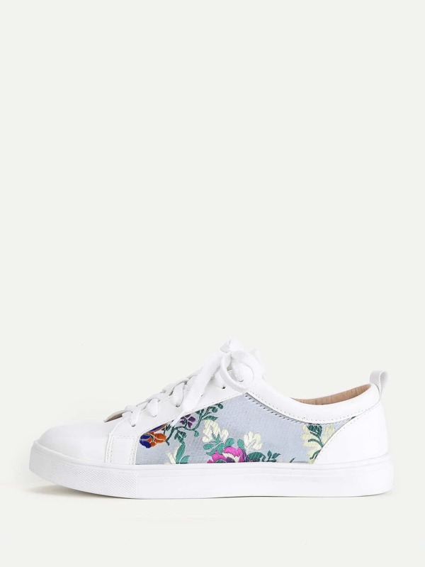 Flower Embroidery Lace Up Trainers