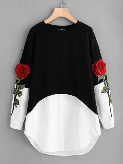 3D Rose Patch Contrast 2 In 1 Dress