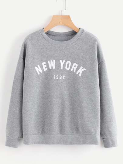 Letter Graphic Drop Shoulder Marled Pullover