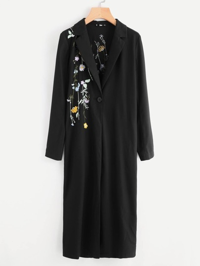 Botanical Embroidery Self Belted Duster Coat