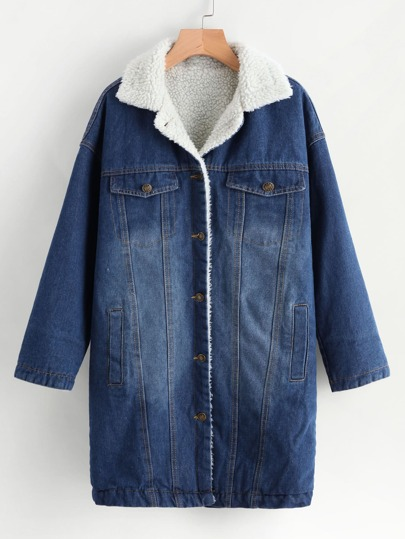 Denim Contrast Faux Shearling Bleached Coat
