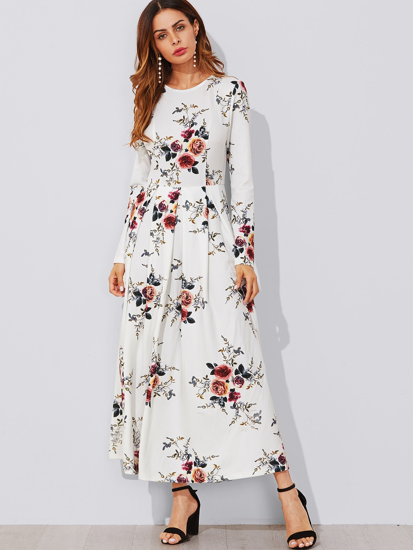 Flower Print Box Pleated Maxi Dress Shein