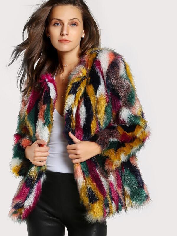 Colorful Faux Fur Coat