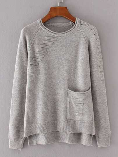 Front Pocket Raglan Sleeve High Low Knitwear pictures