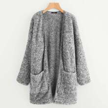 Image of Patch Pocket Open Front Fuzzy Teddy Coat