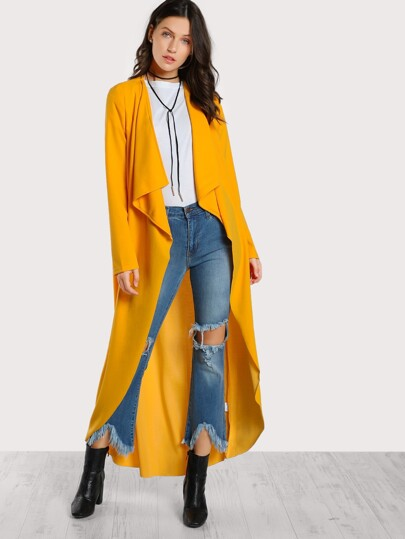 Drape Collar Curved Hem Coat