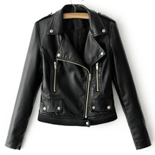 - Ribbed Hem PU Biker Jacket