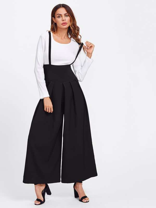 d9ff4e243bfcc Boxed Pleated Wide Waistband Palazzo Pants With Strap