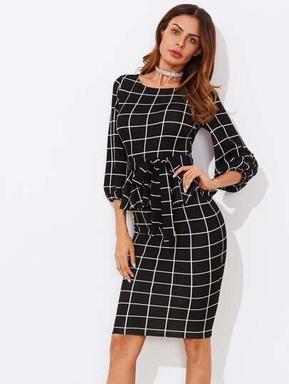 Tie Waist Grid Peplum Dress