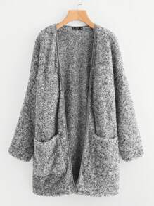Patch Pocket Open Front Fuzzy Teddy Coat
