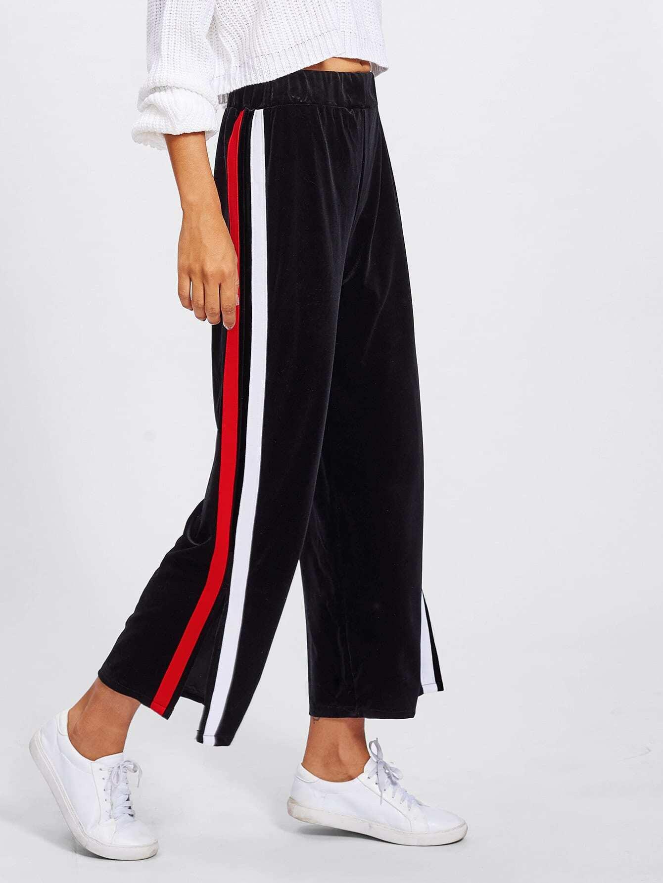 Pantalones anchos con bandas y aberturas laterales | ROMWE