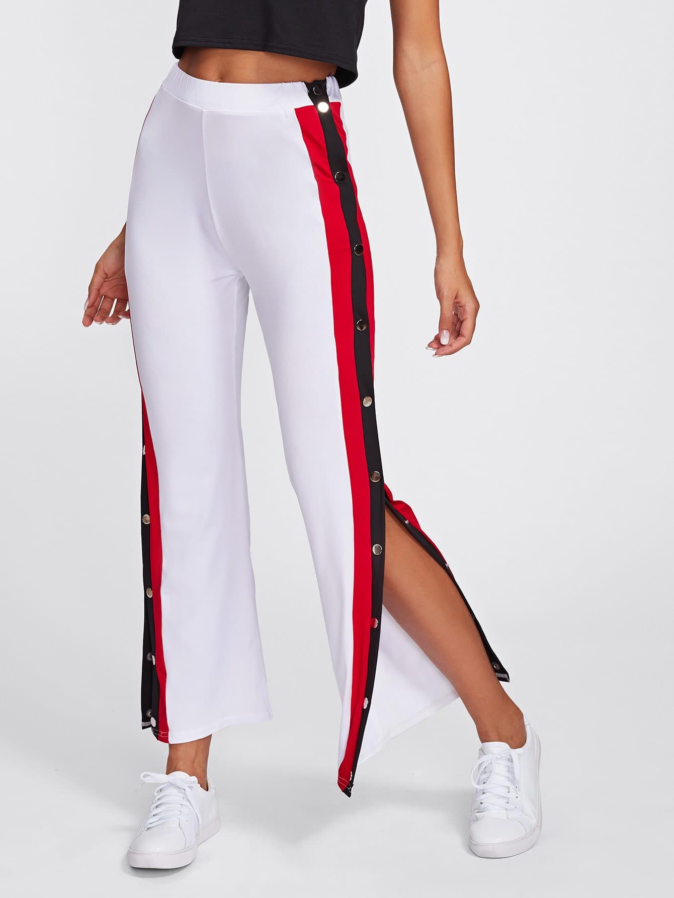Pantalones con abertura con botones de lado de rayas | ROMWE