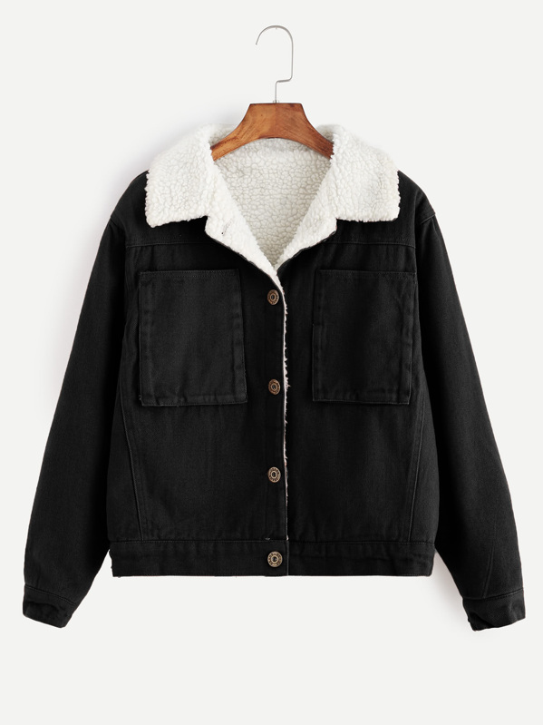Contrast Sherpa Lined Jacket, Black
