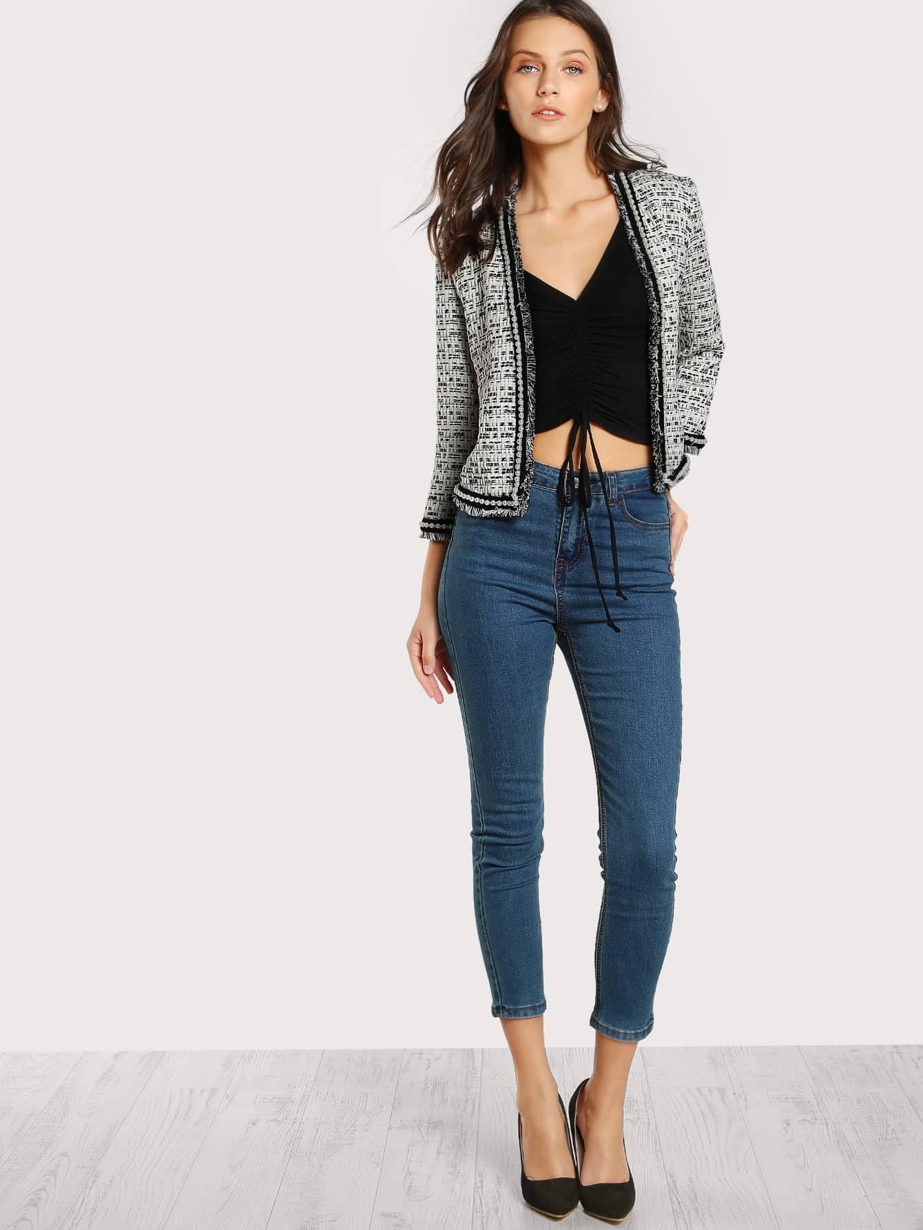 94389d3b05 Pearl Beaded Frayed Edge Tweed Blazer | SHEIN UK