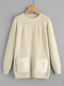 Faux Fur Pocket Front Sweater