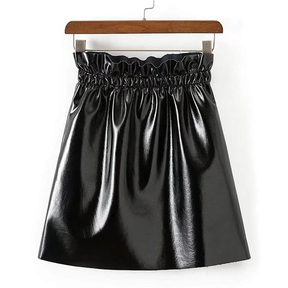 - Elastic Waist PU Skirt