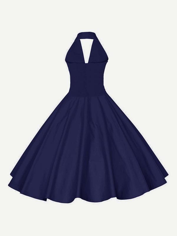 Plunging Sailor Nautical Circle Dress Sheinsheinside