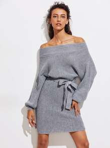 Batwing Sleeve Self Tie Sweater Dress