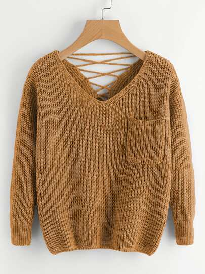 Double V Lace Up Back Chunky Knit Sweater
