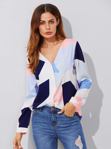 V Neckline Colorblock Blouse