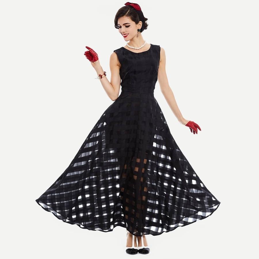 Mesh Checkered Flowy Dress