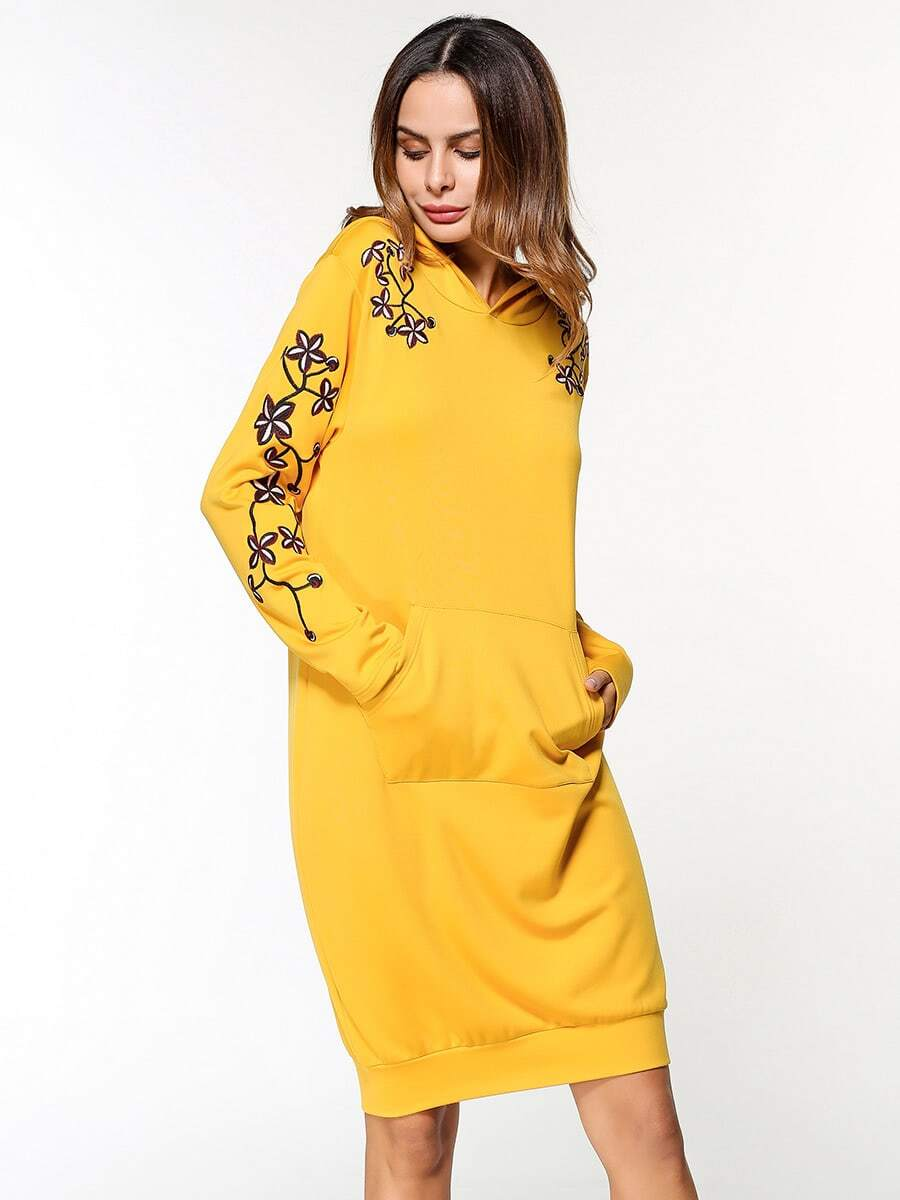 7cc85c23f4a Flower Embroidered Hoodie Dress EmmaCloth-Women Fast Fashion ...