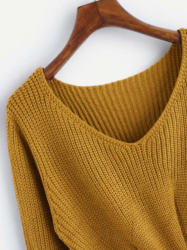 35e9bf14ed V-neckline Twist Front Chunky Knit Sweater. AddThis Sharing Buttons