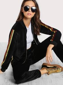 Striped Sleeve Velvet Bomber Jacket